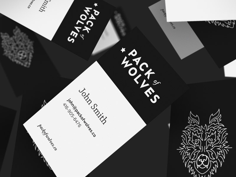 Pack Of Cards business cards branding identity design pack of wolves print illustration typography logo