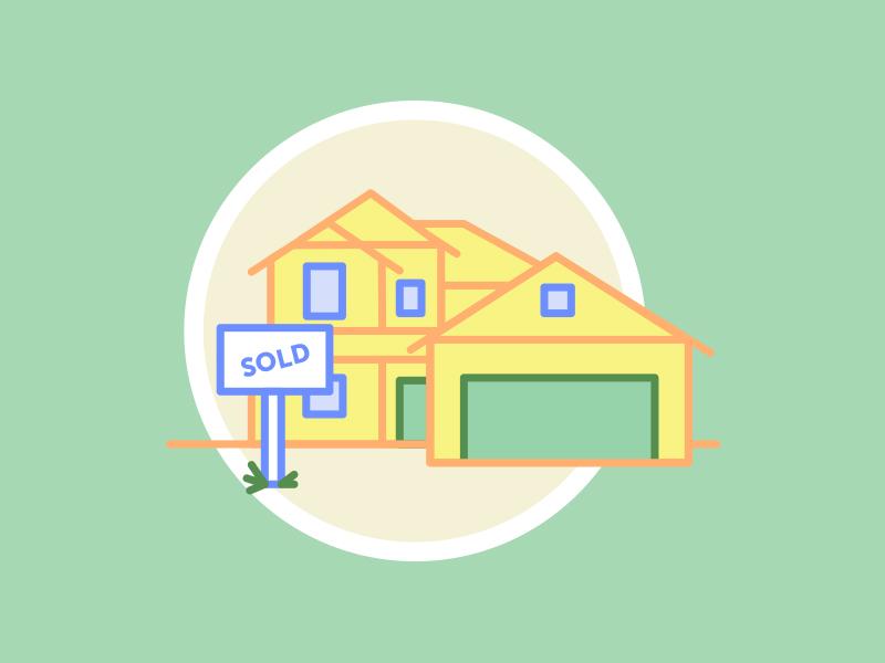 Sold illustration icon flat house