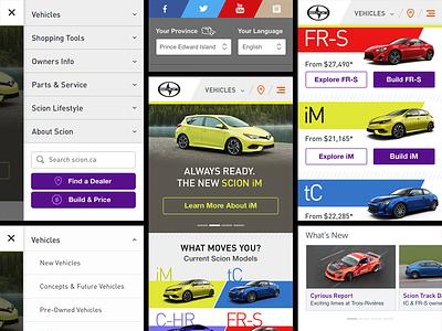 Scion Homepage Mobile cars mobile web design ui uiux automotive scion