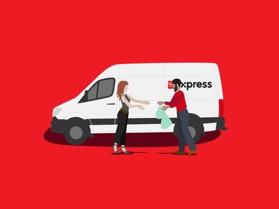 PC Express Illustrations groceries people uiux flat illustration