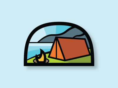 Where I'd Rather Be optoutside illustration fire water mountain badge outdoors camping