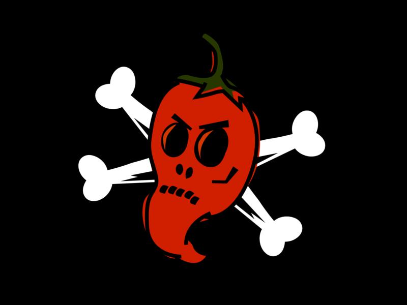 Death By Hot Sauce illustration pepper skull and crossbones skull chili pepper