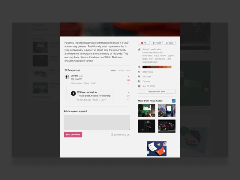 Dribbble Concept - Upvoting and Threads concept ui dribbble feedbackplease