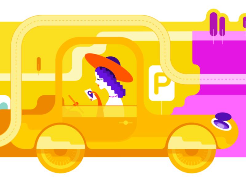 Yellow Car Girl branding illustration