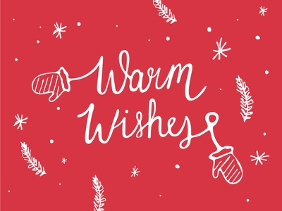 Warm Wishes card greeting lettering illustration