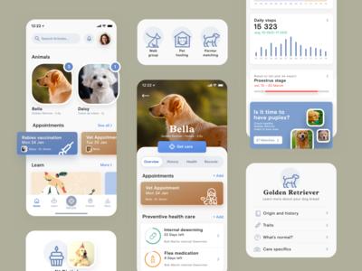 Pet health care app charts mobile ui pet care app health dog pet