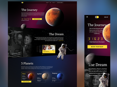 Space tourism landing page