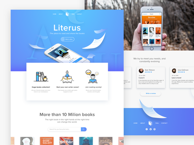 Literus App Landing Concept  reading book iphone promotional design app icons ui web landing