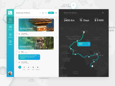 Trip creation page. Travel App concept.