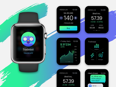 Apple Watch App for traders  illustration trading mobile chart creative ui ux apple watch