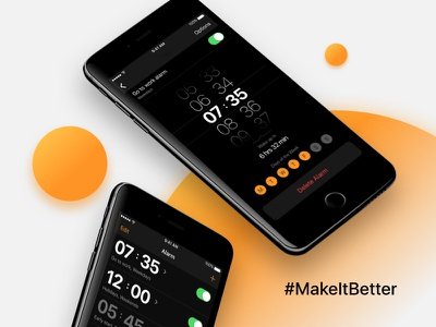 iOS Alarm Clock Concept makeitbetter iphone app design iphone mobile clock creative design usability ui app alarm
