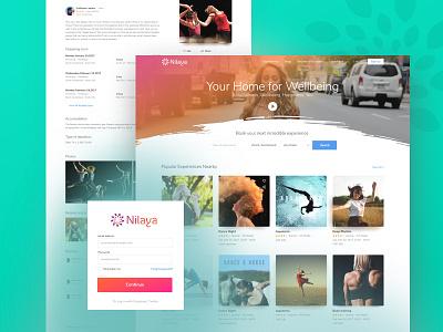 Nilaya Wellness Platform   gradients events search inspiration experience wellness design ui ux landing web