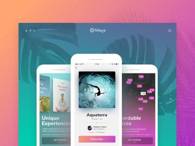Nilaya iOS App  gradients events search inspiration experience wellness design ui ux ios app