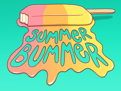 Summer Bummer drawing illustration melting lettering bummer summer popsicle