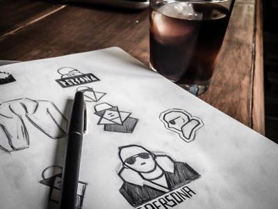 The Persona Logo Form sketch lettering type branding vector icon typography ui design logo illustration