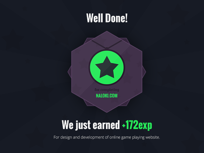 Well done! Another project completed. exp experience badge