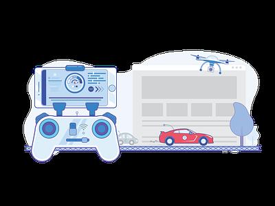 Website Speed Optimization - Creative Brackets - Illustration digital agency creative brackets mobile joystick speed car drone creative illustration
