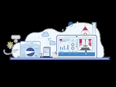 Design - Creative Brackets - Illustration platform cloouds rocket plane creative brackets design illustration