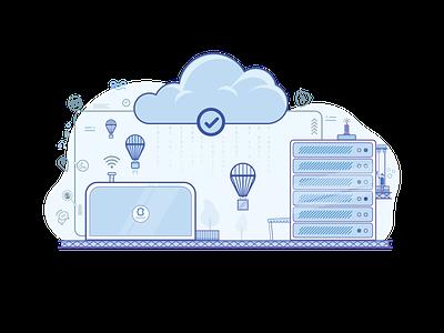 Hosting - Creative Brackets digital agency creative brackets network data cloudserver vps cloud hosting illustration