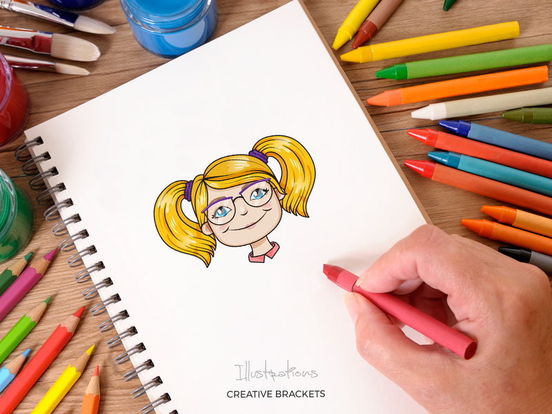Kids - Illustration girl boy kids vector creative brackets illustration