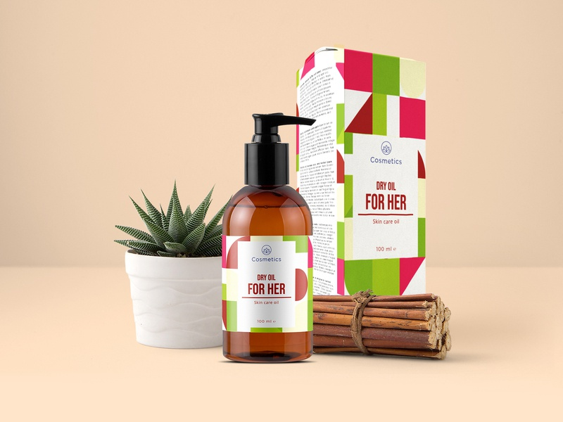 Dry Oil packaging design cosmetic packaging brand package collection branding dry oil cosmetics packaging design