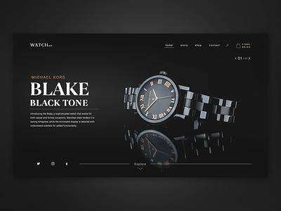 Watch Brand - Website Concept slider design dailyui website concept website design dark mode dark ui branding watches luxurious luxury design luxury brand luxury dark black slider website timepiece watch