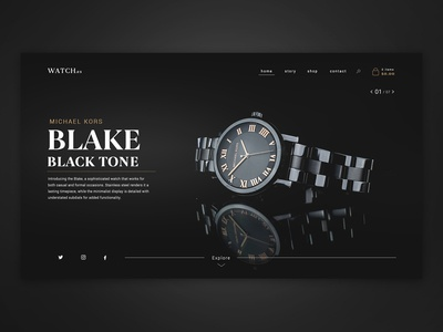 Watch Brand - Website Concept slider design dailyui website concept website design dark mode dark ui branding watches luxurious luxury design luxury brand luxury dark black slider website timepiece watch