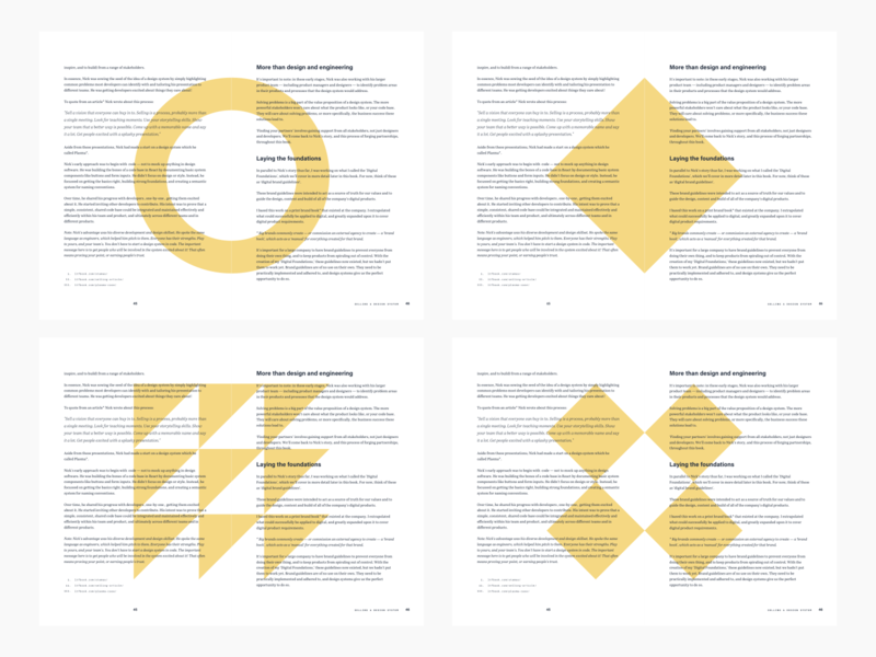 Book layout concept personal minimal minimalist shapes yellow page layout page design book design book