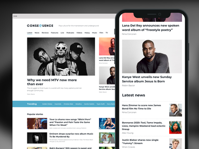 Consequence of Sound website clean article pop culture music music news news magazine editorial web design website