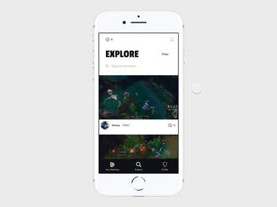 League of Legends app video app filter computer game video game video champions prototype mobile design mobile app mobile league of legends ios app interaction design gaming app gaming figma prototype clean app