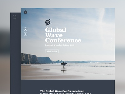 Global Wave Conference surf environment clean clarendon std bold minimalist fullscreen environmental cornwall conference surfing website