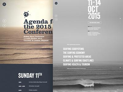 GWC Agenda surf charity date fullscreen wave veneer clarendon std bold marketing surfing agenda website conference