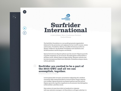 GWC Partner quote charity clean article marketing clarendon text pro clarendon std bold surfrider foundation surfrider website conference