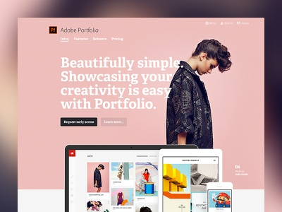 Adobe Portfolio fullscreen pink clean adelle bold portfolio behance adobe marketing website