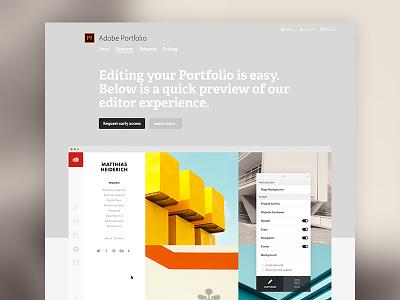 Adobe Portfolio Features clean features editor adelle bold portfolio behance adobe marketing website