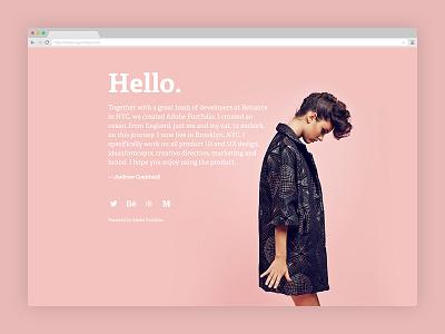 Quick website with Portfolio adelle regular one page holding page hello clean adelle bold website pink adobe portfolio