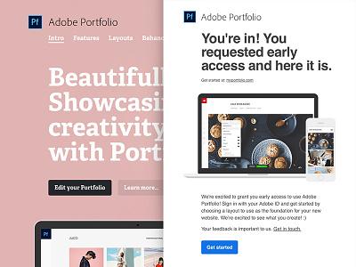 Adobe Portfolio Beta email inbox html email email design early access beta portfolio adobe adelle regular adelle bold pink marketing email