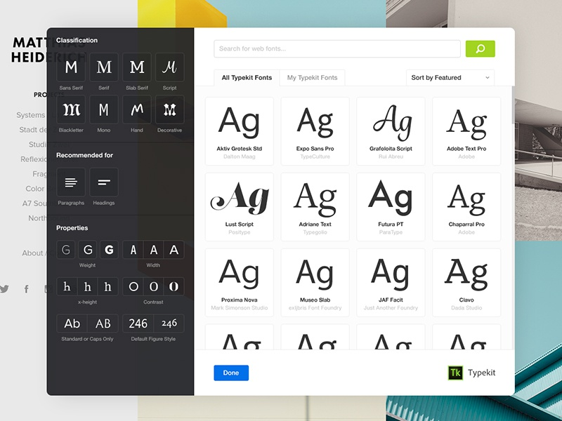 Browsing Typekit fonts ui typography adobe portfolio filter browser fonts typekit