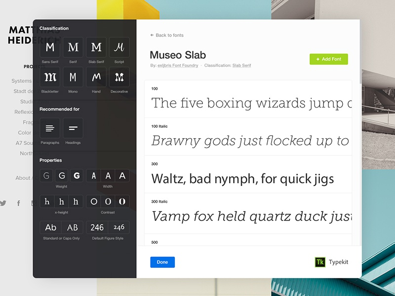 Viewing a Typekit font family font family font weights font museo museo slab typekit fonts filter portfolio adobe typography ui