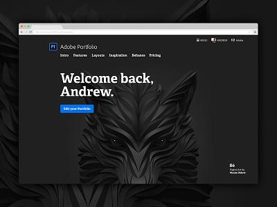 Welcome back fullscreen behance welcome adelle bold adobe portfolio