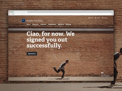 Signed out screen fullscreen behance adelle bold logged out signed out ciao portfolio adobe