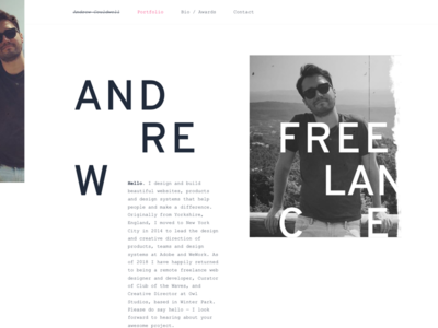 Portfolio refresh freelance personal portfolio clean typographic website