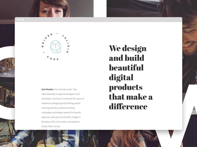 Owl Studios marketing owl studio design studio source sans pro abril fatface minimal clean grid simple website