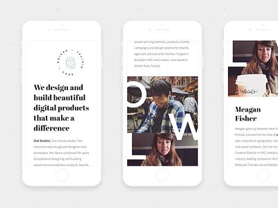 Owl Studios — Responsive mobile responsive website simple clean minimal abril fatface source sans pro design studio studio owl marketing