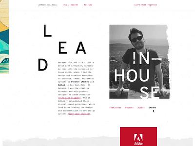 Portfolio website personal introduction bio about web design minimal typographic simple clean website animation animation website portfolio