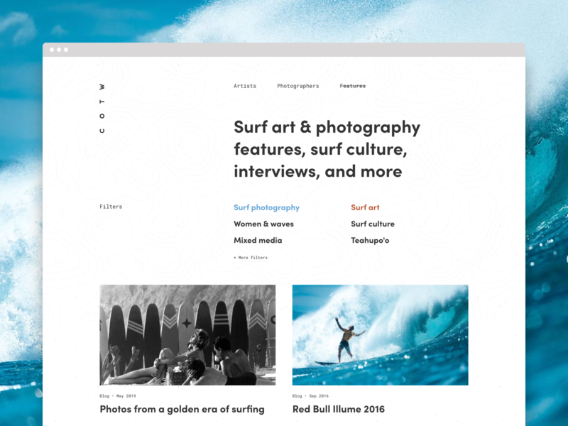 Surfing features blog filters personal minimal clean archive features web design surf surf photography surf art website surfing