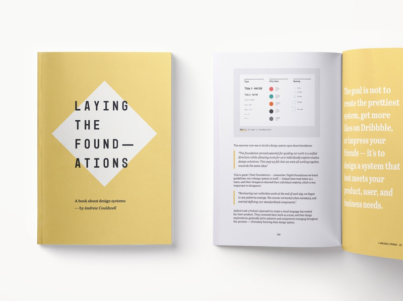 Laying the Foundations book system design page design branding minimal yellow book cover design systems book design book print design print