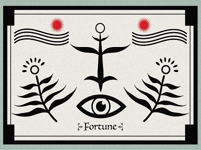 Fortune card fortune leaf flower eye star icon illustration shapes minimal poster abstarct poster