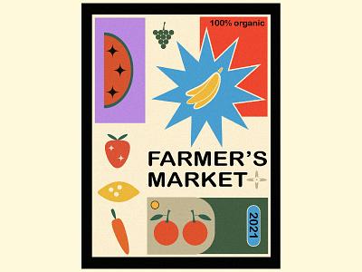 FARMER'S MARKET POSTER vegetable fruit lemon watermelon grapes carrot strawberry banana icon shapes graphic design illustration minimal poster farmers market poster farmers market