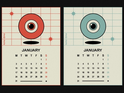 2022 CALENDAR january minimalistic digital art 2022 star eye calendar design calendar shapes illustration minimal design graphic design
